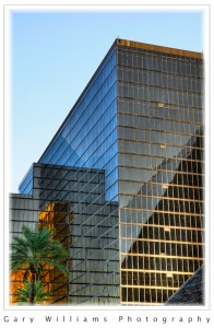 Reflections in the black glass of the Luxor hotel in Las Vegas, Nevada