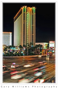 Flowing traffic lights at night in Las Vegas