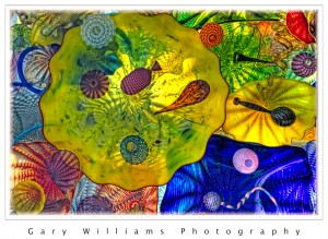 Photograph of glass sculpture from the Chihuly Bridge of Glass in Tacoma, Washington