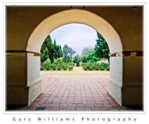 Photograph of an archway at Mission San Juan Bautista, California