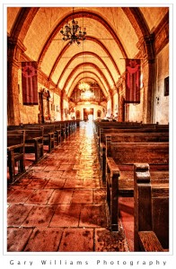 Photograph of the interior of the Carmel Mission near Carmel, California