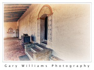 Photograph of the chapel side entrance of the Mission San Antonio in California