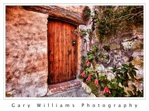 Photograph of a door at the Carmel Mission, Carmel, California