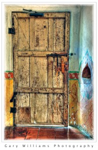Photograph of a side door at the Mission San Juan Bautista, California