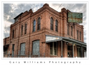 Photograph of a brick warehouse building in Fresno, California