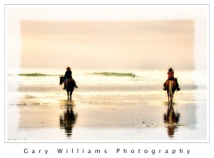 Photograph of horses and riders on a beach at Morro Bay, California