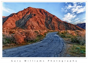 Photograph of a road and mountain in Anza-Borrego State Park