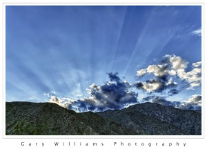 Photograph of crepuscular light rays in Anza-Borrego State Park in California