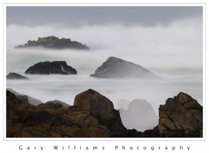 Photograph of a waves and fog at Asilomar Beach, California