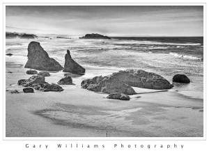 Photograph of rock formations along the coast near Bandon, Oregon