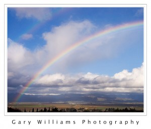 Photograph of a rainbow in the Salinas Valley, California