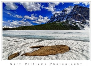 Photograph of Lake Louise frozen over in Banff National Park