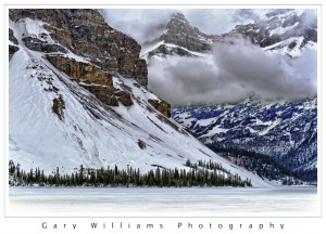 Photograph of Hector lake from the Icefields Parkway, Canada