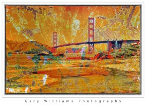 Photograph of the Golden Gate Bridge in San Francisco blended with a background texture applied