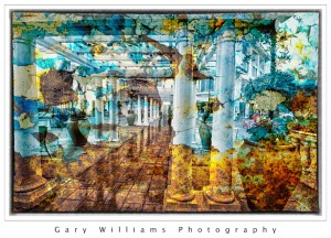 Photograph of a walkway at a Cannery Row hotel blended with a background texture applied
