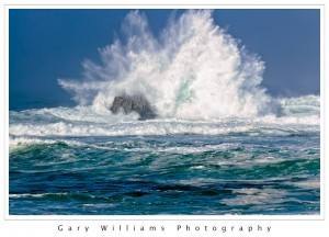 Photograph of a large breaking wave at Asilomar, California