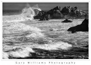 Black and White Photograph of a large wave at Asilomar, California