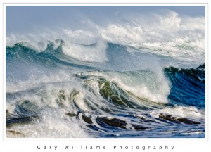 Photograph of a large wave at Moss Landing, California
