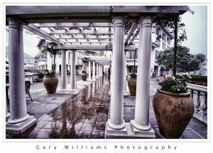 Photograph of columns and a walkway at Cannery Row, Monterey, California