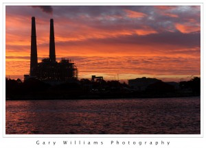 Photograph of sunrise at the power plant, Moss Landing, California