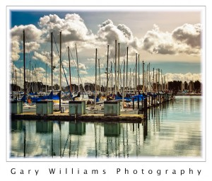 Photograph of boats at Berkeley Marina at sunrise