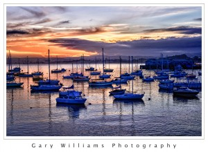 Photograph of boats at Monterey Harbor at sunrise
