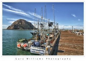 Photograph of boats along a dock at Morro Bay, California