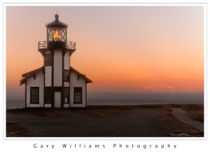 Photograph of Point Cabrillo Lighthouse at sunset near Russian Gulch in Northern California