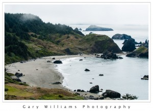 Photograph of waves, beach, and sea stacks at Whalehead Point in Oregon