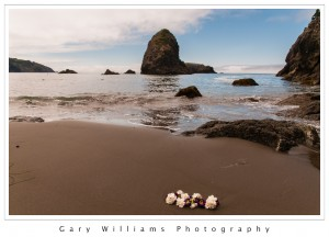 Photograph of flowers, waves, beach, and sea stacks at Whalehead Beach in Oregon