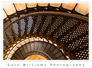 Photograph of the spiral staircase in the Yaquina Head Lighthouse along the southern Oregon coast at the Yaquina River near Newport, Oregon