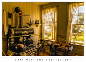 Photograph of the kitchen of the Yaquina Bay Lighthouse along the southern Oregon coast at the Yaquina River near Newport, Oregon