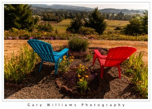 Photograph of red and blue plastic lawn chairs overlooking the Tillamook Valley, Oregon