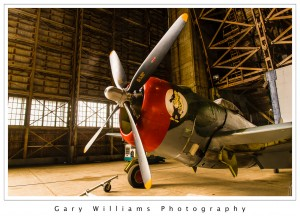 Photograph of a WW II fighter plane in the Tillamook Air Museum