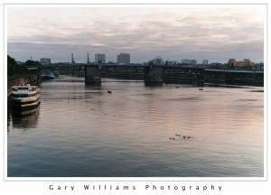 Photograph of the Portland Skyline and the Willamette River in Portland, Oregon
