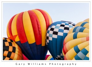 Photograph of a Hot Air Balloons partially inflated at the Albuequerque Balloon Fiesta