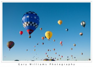 Photograph of many Hot Air Balloons ascending at the Albuequerque Balloon Fiesta