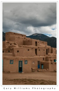 Photograph of adobe buildings in the Taos Indian Pueblo, Taos, New Mexico
