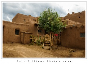 Photograph of an adobe buildings in the Taos Indian Pueblo, Taos, New Mexico