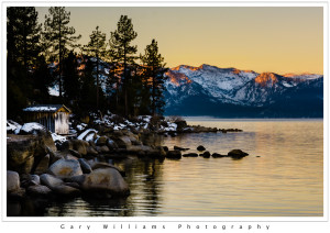 Photograph of sunrise over Lake Tahoe from Zephyr Point, Nevada