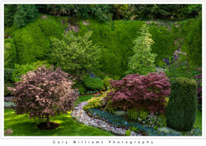 Photograph of the Sunken Garden at the Butchart Gardens, British Columbia, Canada