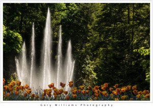 Photograph of the Ross Fountain in the Sunken Garden at the Butchart Gardens, British Columbia, Canada