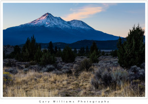 Photograph of Mount Shasta at sunrise