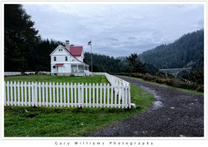 Photograph of an outbuilding at the Heceta Head Lighthouse along the southern Oregon coast