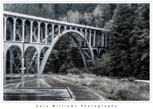 Photograph of the Cape Creek Bridge along the southern Oregon coast