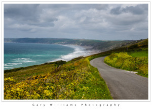 Photograph of a coastal road in Rame Head, Cornwall, England