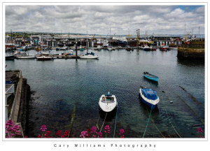 Photograph of boats and harbor from Newlyn, Cornwall, England