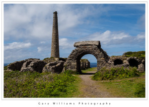 Photograph of a mining structure at Botallack Mine, Cornwall, England