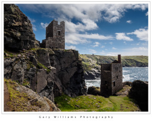 Photograph of engine houses at Botallack Mine, Cornwall, England