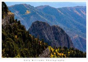 Photograph of steep ridges and Aspen Fall color seen from the Sandia Crest in New Mexico